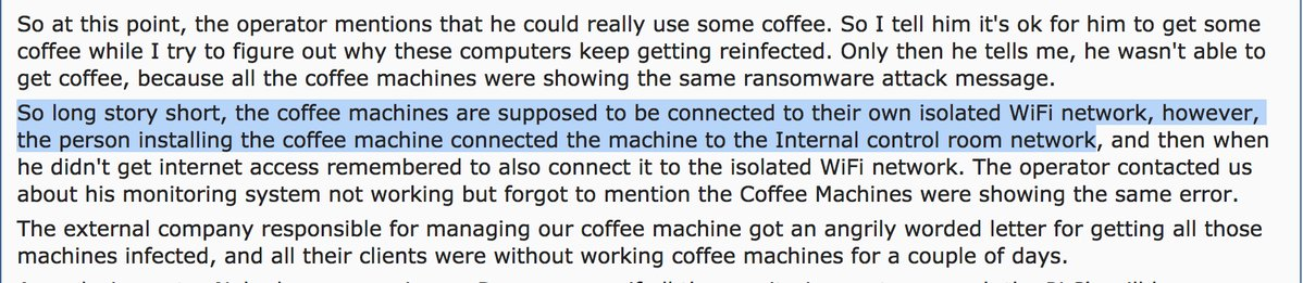 RT a nice bedtime tale  of a coffee machine  TAKING DOWN A CHEMICAL FACTORY'S NETWORK   🤔  https://t.co/Z3JOYGieP9  - embedded image