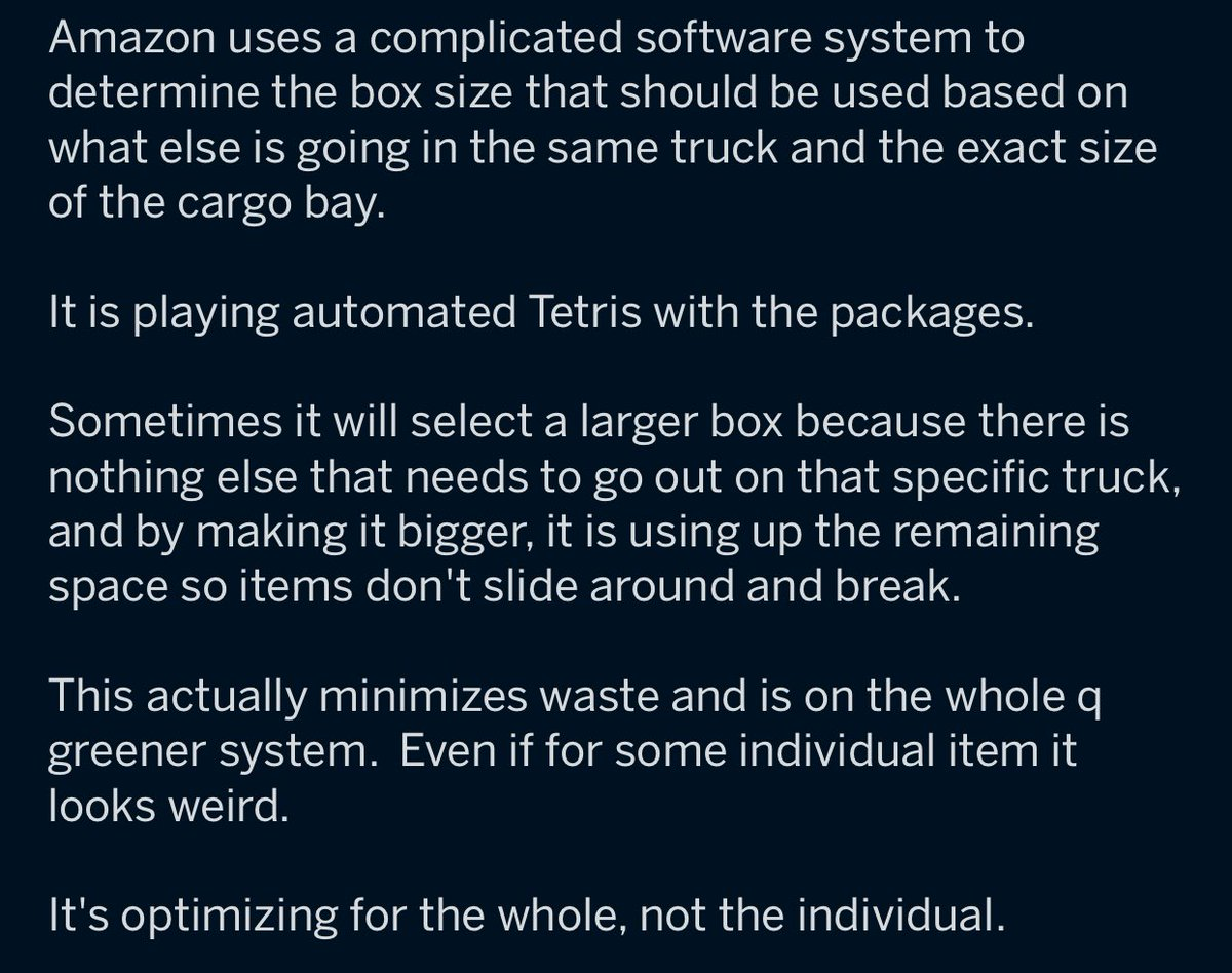 RT Why Amazon delivers small things in huge boxes occasionally  - embedded image