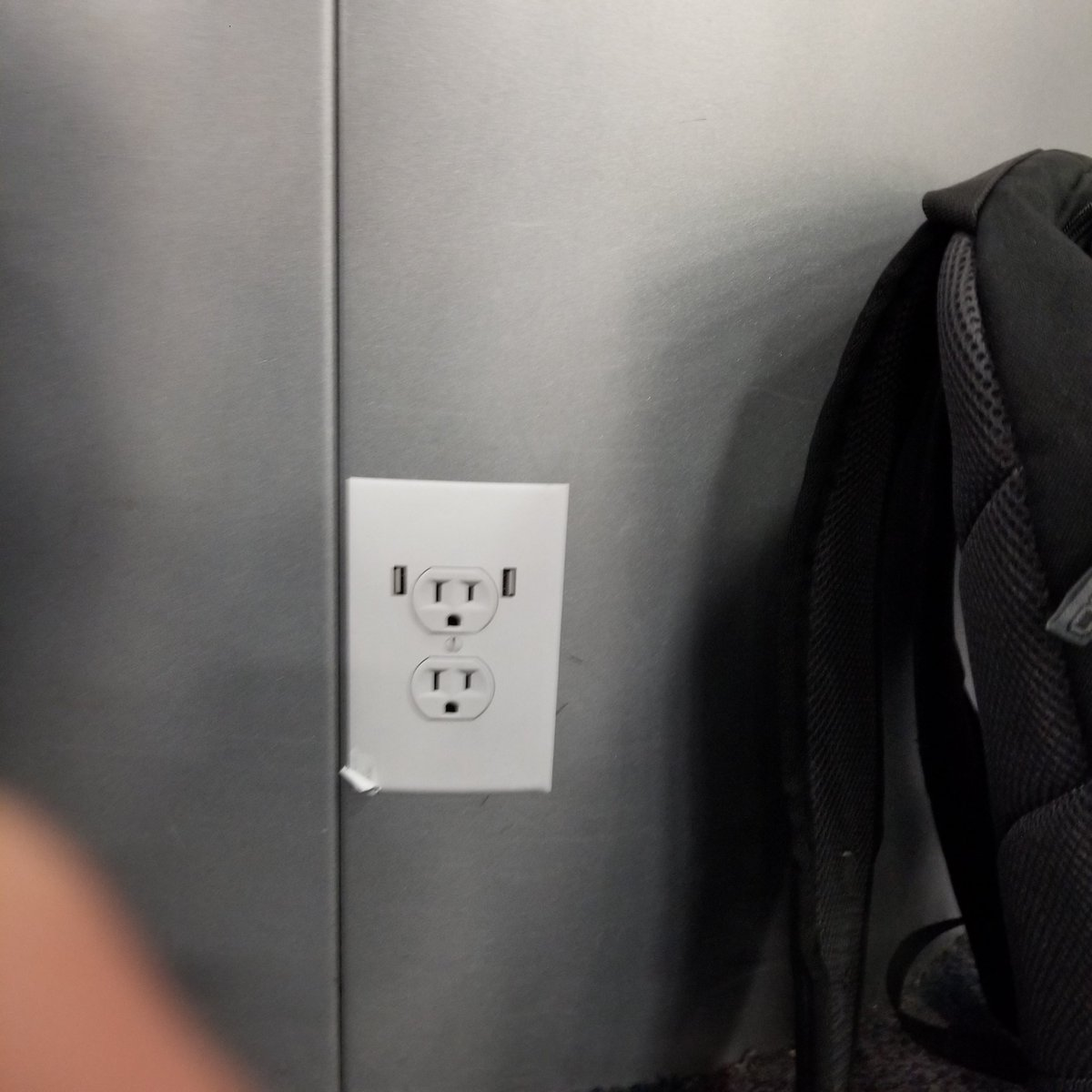 RT Whoever put up this fake sticker of an open outlet at the airport, you are now my enemy for life.  - embedded image 1