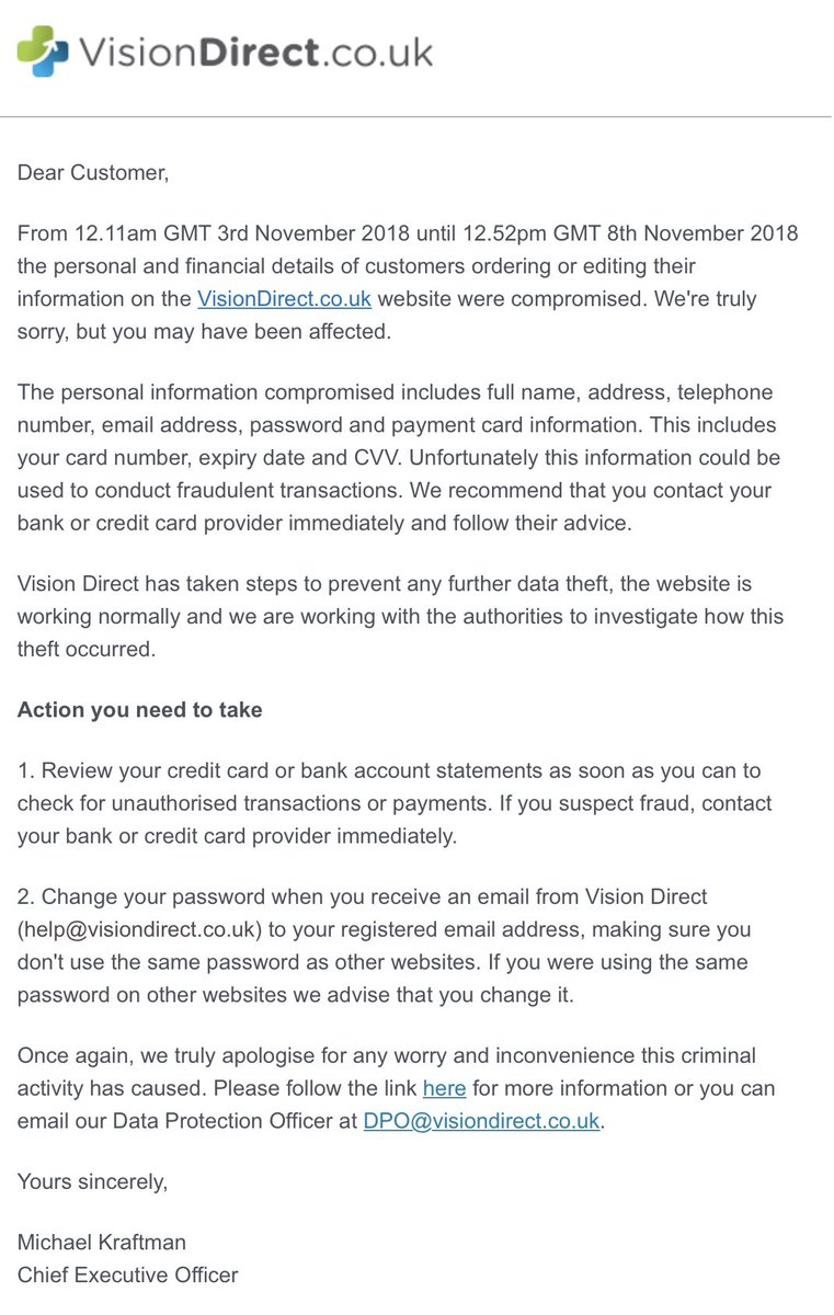 RT Data breach at @Visiondirect_UK including complete card numbers, expiry and CVV   - embedded image