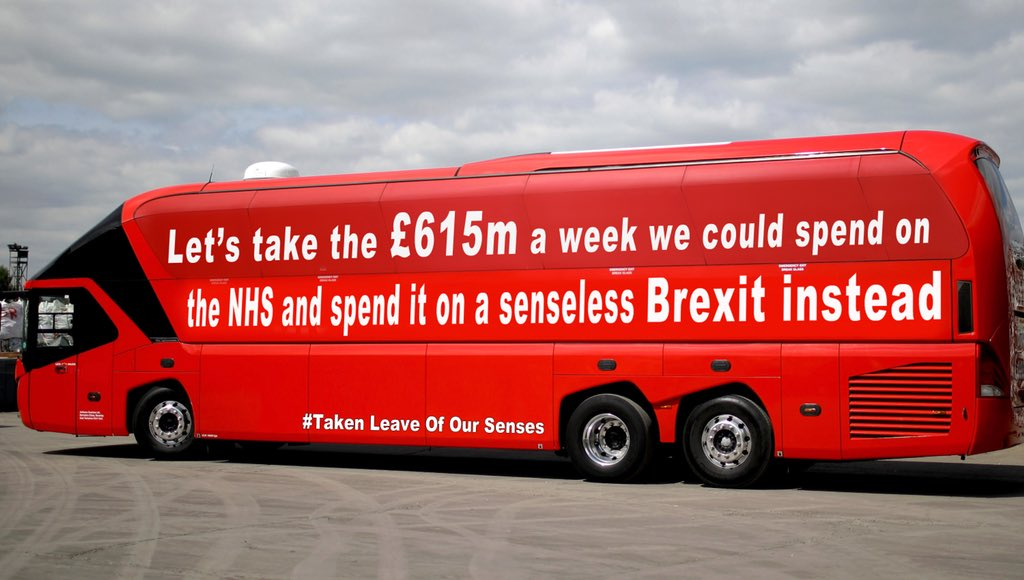 RT After new calculations are released for Brexit, Vote Leave reveal their latest bus.  - embedded image