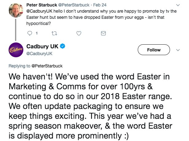 RT At this time of year please spare a thought for the Cadbury social media team.  - embedded image 1