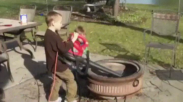 RT Just let the kids clean the fire pit out with a leaf blower, what could go wrong?  - embedded image