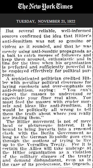 "RT ""Hitler's only kidding about the antisemitism"" @nytimes, 1922. https://t.co/gST08po3Zx  - embedded image"