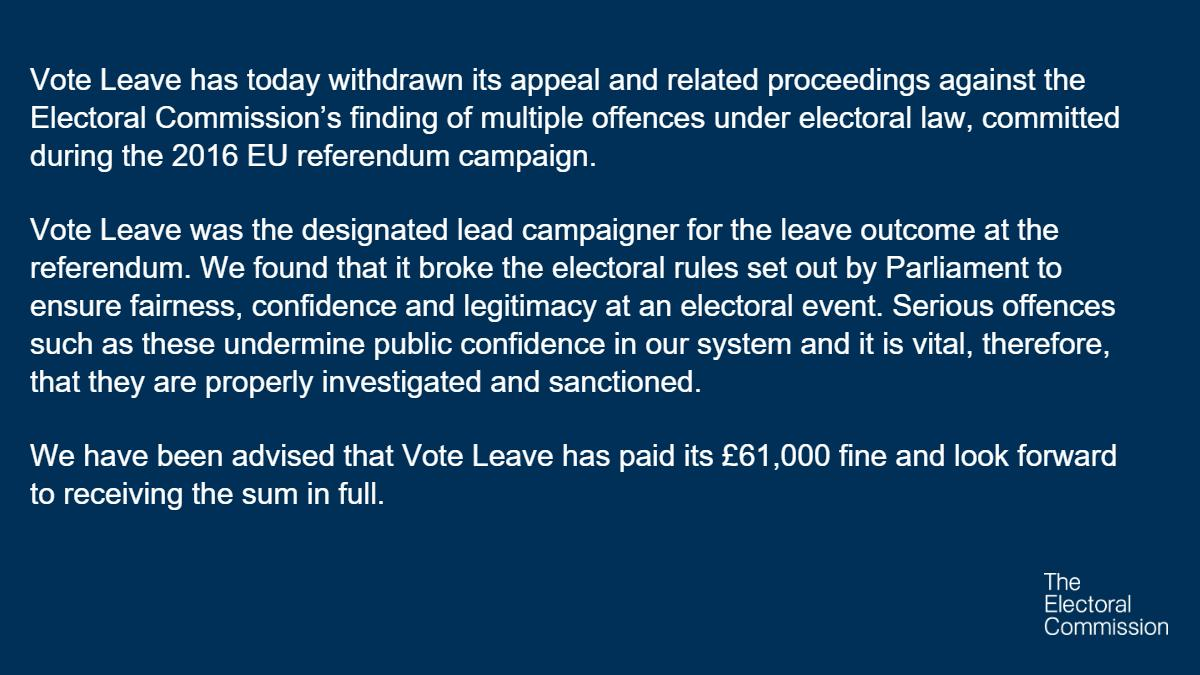 RT Vote Leave has today dropped its appeal and related proceedings against the Electoral Commission.  - embedded image