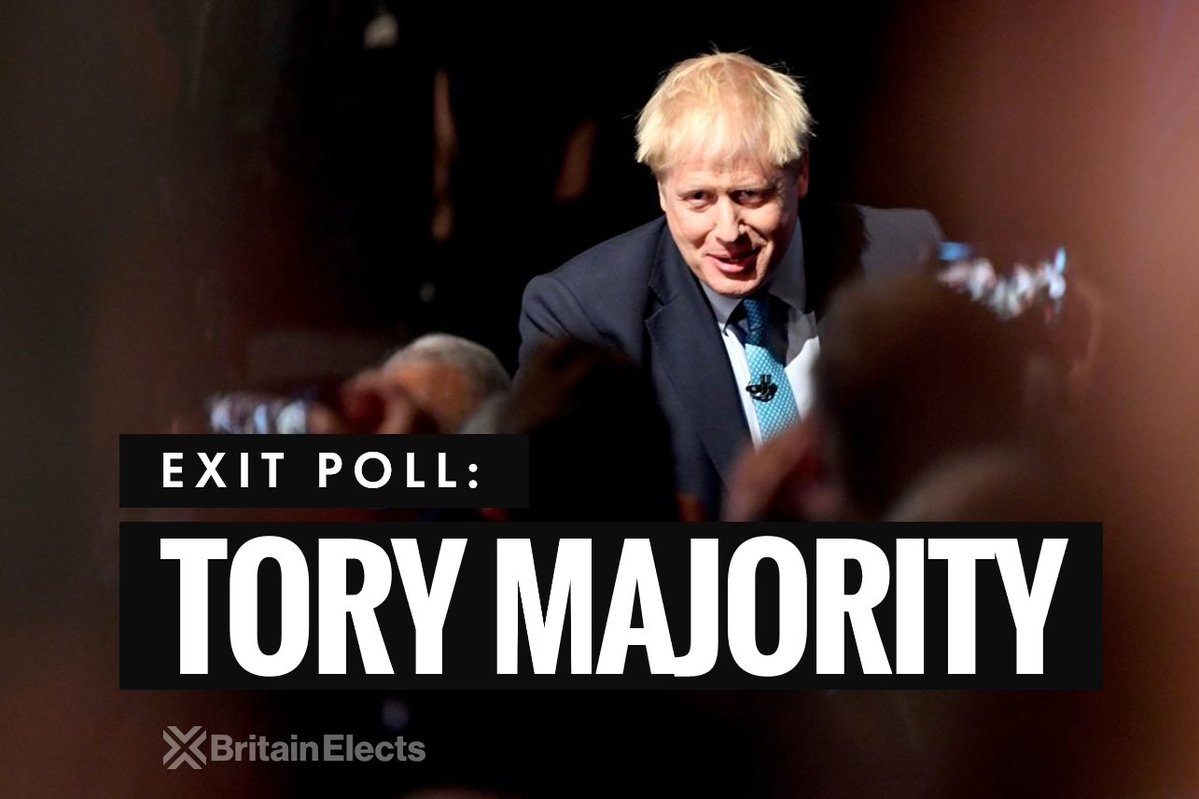 RT #GE2019, EXIT POLL:  Con: 368 (+51) Lab: 191 (-71) SNP: 55 (+20) LDem: 13 (+1)  - embedded image