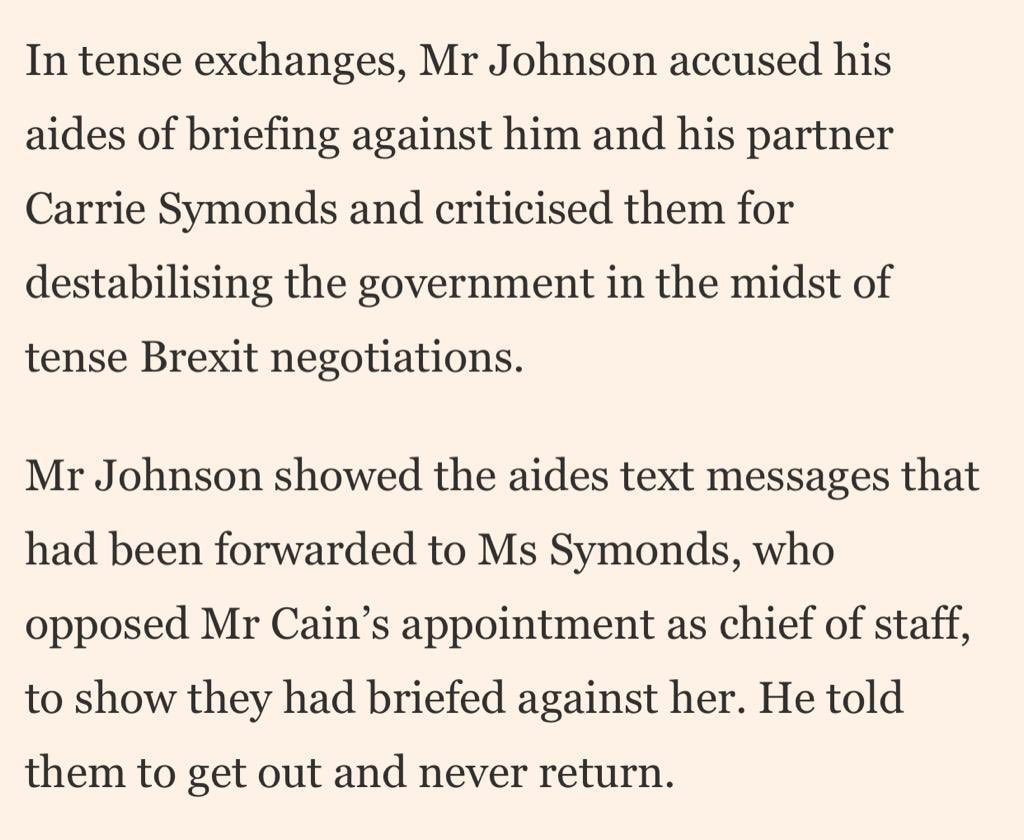RT Phenomenal detail from @FT. About ⁦@BorisJohnson⁩ showdown with Cummings and Cain.  - embedded image