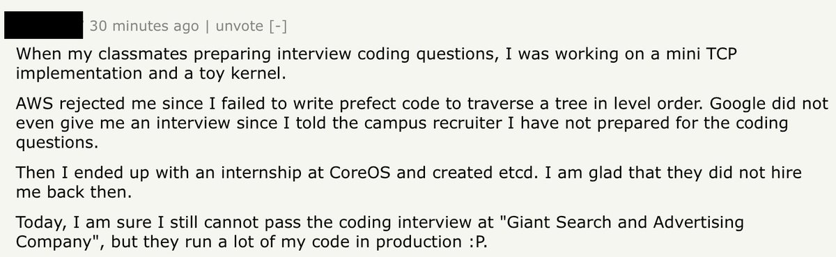 RT A good Hacker News comment on tech interviews.  - embedded image