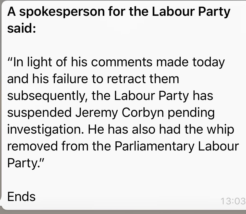 RT Wow. Labour has suspended ⁦@jeremycorbyn⁩ from the Labour party  - embedded image